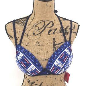 🚨2/$20 Bikini Top L D/DD Push Up Tribal Navy Blue